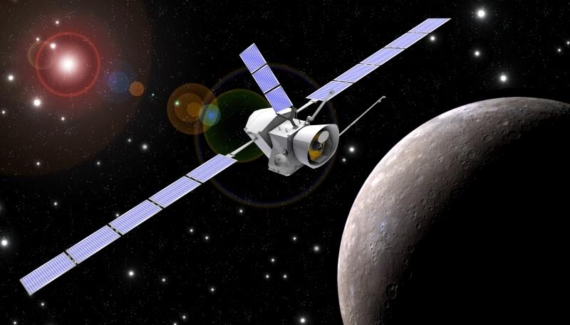 Vue d'artiste des 2 sondes de la mission BepiColombo en orbite autour de Mercure. Crédits : ESA.
