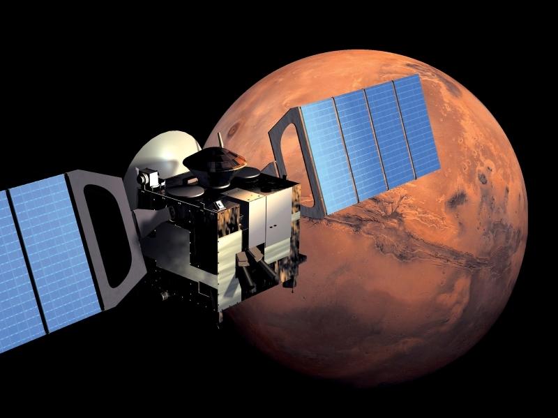 Vue d'artiste de la sonde Mars Express en orbite autour de Mars. Crédits : ESA/ Medialab.
